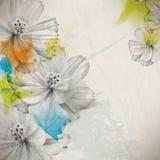 Wektorowy multicolor grunge rocznika rysunku kwiatu pojęcia tło royalty ilustracja