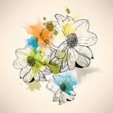 Wektorowy multicolor grunge rocznika rysunku kwiatu pojęcia tło ilustracji