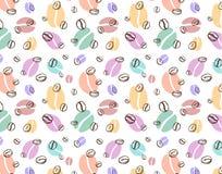 Wektorowy multicolor wzór z kontur kawowymi fasolami Zdjęcia Stock