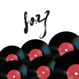 Wektorowy muzyczny plakat na białym tle z winylowymi rejestrami Zdjęcie Royalty Free