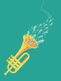 Wektorowy muzyczny plakat w płaskim retro stylu royalty ilustracja
