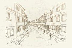 Wektorowy nakreślenie architektura Burano wyspa, Wenecja, Włochy royalty ilustracja