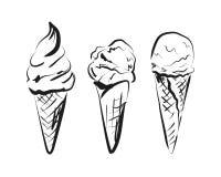 Wektorowy nakreślenie lody w rożku Obrazy Stock