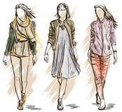 Wektorowy nakreślenie moda modele ilustracja wektor