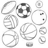 Wektorowy nakreślenie set sport piłki Fotografia Royalty Free