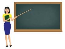 Wektorowy nauczyciel z pointeru trwanie blackboard royalty ilustracja