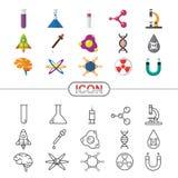Wektorowy nauki i substanci chemicznej pojęcia sieci ikony płaski kreskowy styl ilustracji