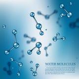 Wektorowy nauki tło z wodnymi molekułami Obrazy Royalty Free