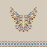 Wektorowy neckline i granica z ornamentem etnicznym i kwiecistym Nowożytny czecha styl obrazy royalty free