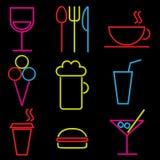 Wektorowy neonowy ikona set Zdjęcie Royalty Free
