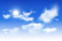 Wektorowy nieba tło - bielu słońce w niebieskim niebie i chmury Zdjęcia Royalty Free