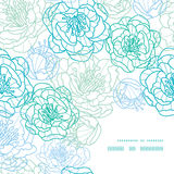 Wektorowy niebieskiej linii sztuki kwiatów ramy kąta wzór Zdjęcia Stock
