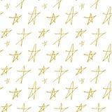 Wektorowy niekończący się bezszwowy przestrzeń wzór złocista gwiazdy ręka malował na białym tle dla bożych narodzeń i nowy rok wa Zdjęcia Stock