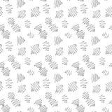 Wektorowy niekończący się bezszwowy wzór inky czarna dzieci doodles ręka rysująca na białym tle w prostym minimalisty stylu Zdjęcia Royalty Free