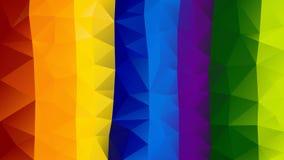 Wektorowy nieregularny wieloboka tło folujący widmo koloru wielo- tęczy pionowo pasiasty - trójboka niski poli- wzór - ilustracji