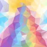 Wektorowy nieregularny wieloboka tło z trójboka wzorem w pastelowym pełnym widmo tęczy kolorze z odbiciem ilustracja wektor