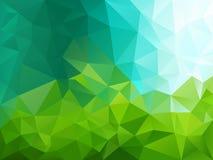 Wektorowy nieregularny wieloboka tło z trójgraniastym wzorem w zieleni i błękita kolorach - niebo i trawa ilustracja wektor