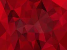Wektorowy nieregularny wieloboka tło z trójboka wzorem w ciemnym krwistym czerwonym kolorze z odbiciem Obrazy Royalty Free