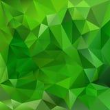 Wektorowy nieregularny wieloboka tło z trójgraniastym wzorem w naturalnych zielonych kolorach Zdjęcia Stock