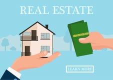 Wektorowy nieruchomości pojęcie w mieszkanie stylu - businessmans ręka daje domowi i nabywca dajemy pieniądze, sieć sztandar, dom ilustracja wektor