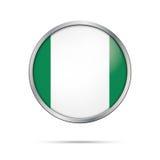 Wektorowy Nigeryjski chorągwiany guzik Nigeria flaga w szklanym guzika stylu royalty ilustracja