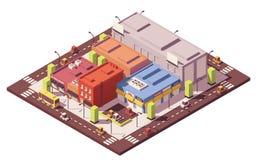 Wektorowy niski poli- isometric blok mieszkalny royalty ilustracja