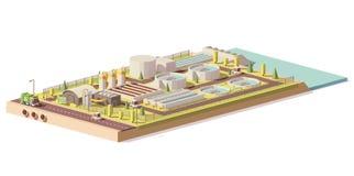 Wektorowy niski poli- wastewater zakład przeróbki royalty ilustracja