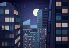 Wektorowy noc pejzaż miejski ilustracja wektor