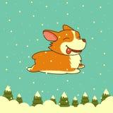 Wektorowy nowego roku pies na zima lasu tle Walijski corgi pies dla Xmas, nowego roku plakat ilustracja wektor
