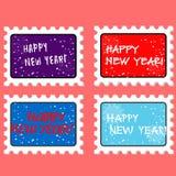 Wektorowy nowego roku znaczek, postmark i ilustracji