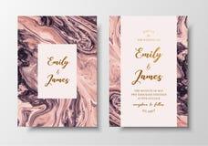 Wektorowy nowożytnego projekta ślubny zaproszenie Ciecz barwi kartka z pozdrowieniami z złotym tekstem Save daktylowego projekta  royalty ilustracja