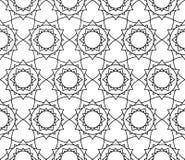 Wektorowy nowożytny bezszwowy święty geometria wzór kwiecisty, czarny i biały abstrakt ilustracja wektor