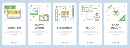 Wektorowy nowożytny cienieje kreskowych prototypowych pojęcie sieci sztandary ilustracji