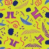 Wektorowy nowożytny deszczu wzór na żółtym tle zawiera parasole, podeszczowe krople, earthworm ilustracja wektor