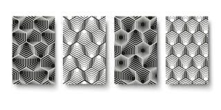 Wektorowy nowożytny geometria wzoru sześciokąt, abstrakcjonistyczny geometryczny tło, modny druk, monochromatyczna retro tekstura Obraz Stock