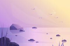 Wektorowy nowożytny mieszkanie krajobraz 3d morze wschód słońca antykwarska kawa umowy gospodarczej kubek świeżego fasonował dzie Obraz Stock