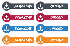 Wektorowy nowożytny Upload i ściąganie projektujemy ikonę ustawiającą w guziku Obraz Stock