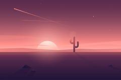 Wektorowy nowożytny mieszkanie pustyni krajobraz z osamotnionym kaktusem Zdjęcia Stock