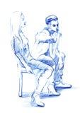 Wektorowy ołówek odizolowywająca sylwetka dziewczyna i facet siedzimy Obraz Royalty Free