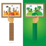 Wektorowy obrazek ramy suchy Nawadniać jaskrawy - zielona natury ręka i h Zdjęcie Royalty Free