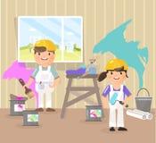 Wektorowy obrazek w stylu mieszkania, kreskówka Malarzi malują pokój, podnoszą up kolor błękit, menchia ilustracja wektor
