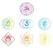 Chakras symboli/lów nakreślenie royalty ilustracja