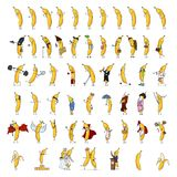 Wektorowy Ogromny set Różni kreskówka banana charaktery royalty ilustracja