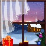Wektorowy okno z widokiem śnieżny tło ilustracji