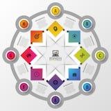 Wektorowy okręgu infographics z ikonami Szablon dla prezentaci Diagrama pojęcie z 8 częściami Fotografia Royalty Free