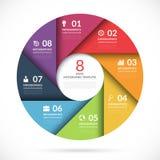 Wektorowy okręgu szablon dla biznesowego infographics ilustracji