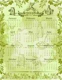 Wektorowy oliwki oliwa z oliwek kalendarza 2018 szablon Fotografia Stock
