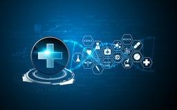 Wektorowy opieki zdrowotnej tła techniki sci fi projekta wzór cześć ilustracja wektor