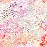 Wektorowy organicznie bezszwowy abstrakcjonistyczny tło, botaniczny motyw, freehand doodles wzór royalty ilustracja