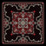 Wektorowy ornament Paisley, bandany druk, tkaniny szyi szalik lub chustka kwadrata wzoru pirata projekt, czaszek i ko?ci, royalty ilustracja